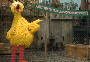 Big bird teaches alphabet through son