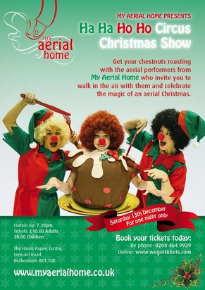 Ha Ha Ho Ho Christmas show flyer My Aerial Home